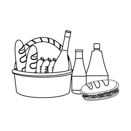 Cesta de picnic con icono de panes y sándwiches sobre fondo blanco, ilustración vectorial Foto de archivo - 103703146