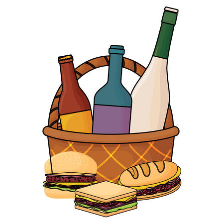 picnic basket with drink bottles and sandwichs icon over white background, vector illustration Foto de archivo - 103703391