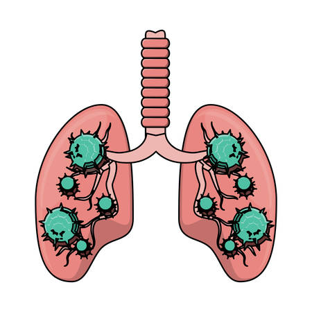 Lungs with an infection  over white background, vector illustration