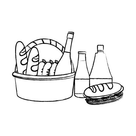 Cesta de picnic con icono de panes y sándwiches sobre fondo blanco, ilustración vectorial