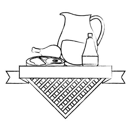 picnic food emblem with lemonade pitcher and related icons over white background, vector illustration 일러스트