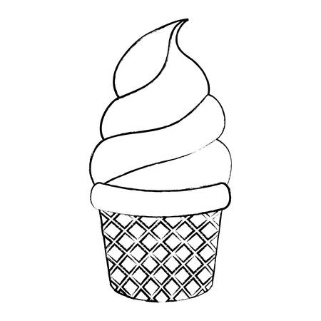 soft serve ice cream icon over white background, vector illustration