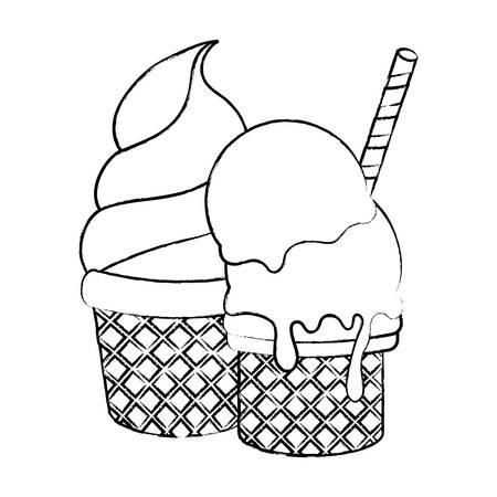 Ice cream cones icon over white background, vector illustration