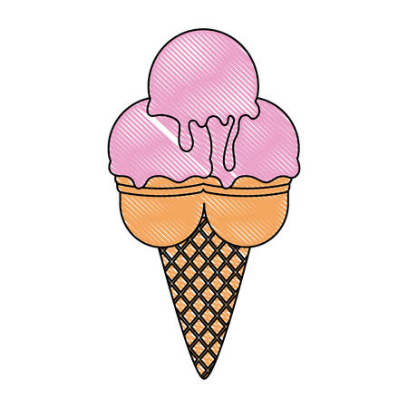 Ice Cream Cone with three scoops over white background, vector illustration