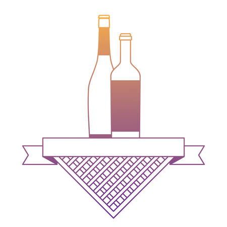 wine and champagne bottles with picnic tablecloth and ribbon over white background, vector illustration Illustration