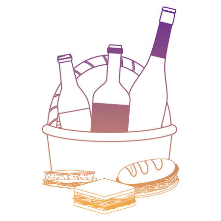 picnic basket with drink bottles and sandwichs icon over white background, vector illustration