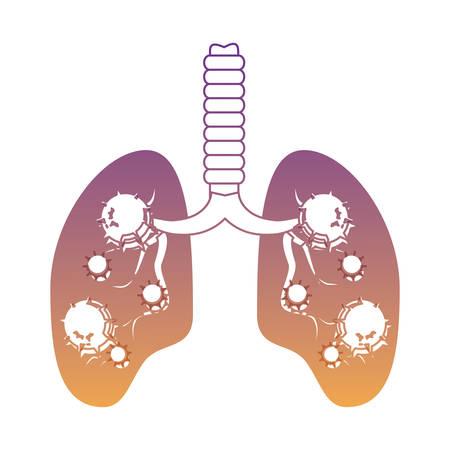 Pulmones con una infección sobre fondo blanco, ilustración vectorial