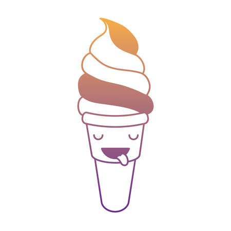 kawaii ice cream soft serve icon over white background