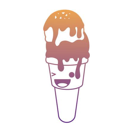 kawaii ice cream cone icon over white background 向量圖像