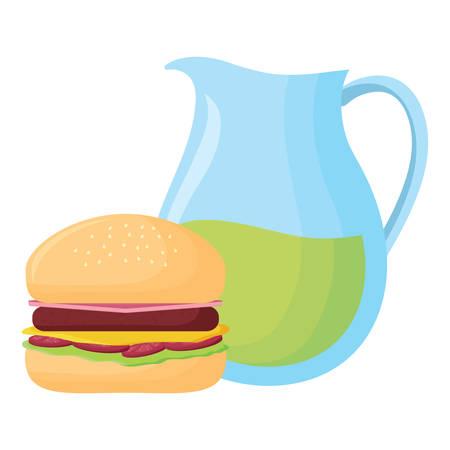 lemonade pitcher and hamburger over white background, vector illustration 向量圖像