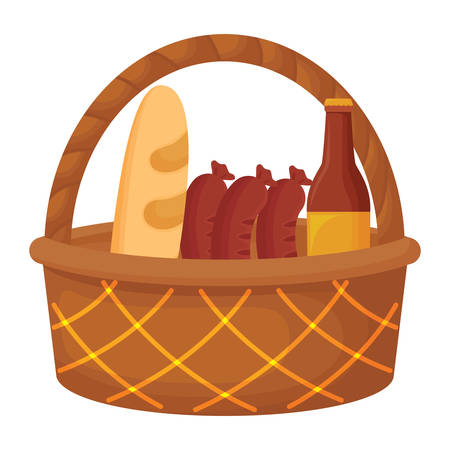 Picnic basket with sausages and beer bottle icon over white background, vector illustration Illustration