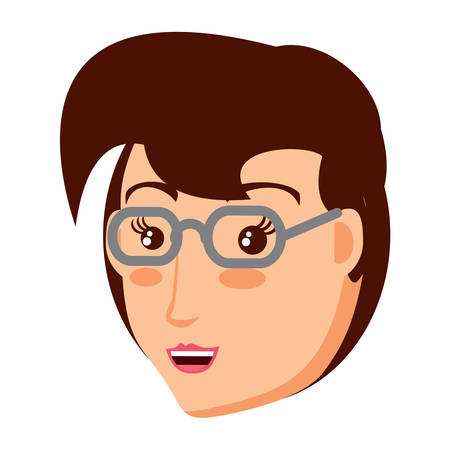 cartoon woman with glasses over white background, vector illustration Illustration