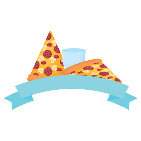 decorative ribbon with pizza slices and glass icon over white background, vector illustration