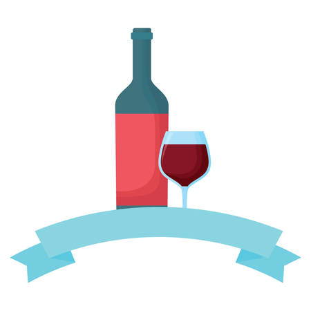 decorative ribbon with wine bottle and glass icon over white background, vector illustration