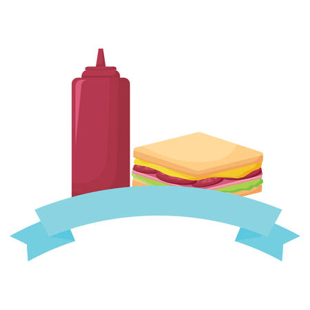 decorative ribbon with Sandwich and ketchup bottle icon over white background, vector illustration Illustration
