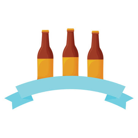 decorative ribbon with beer bottles icon over white background, vector illustration