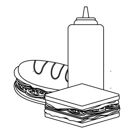 Sandwichs and ketchup bottle icon over white background, vector illustration