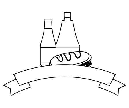Cinta decorativa con icono de botella de sándwiches y salsas sobre fondo blanco, ilustración vectorial
