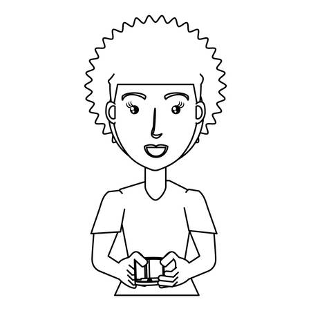 cartoon young woman using a cellphone over white background, vector illustration