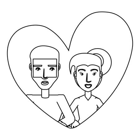 heart with couple in love over white background, vector illustration