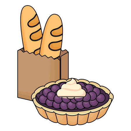 sweet pie and bread with breads icon over white background, vector illustration
