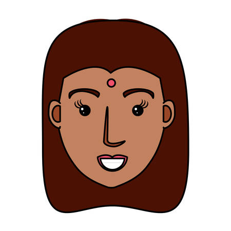 cartoon woman with long hair over white background, vector illustration