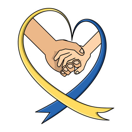 World down syndrome day ribbon with holding hands over white background, vector illustration