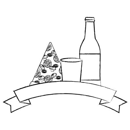 decorative ribbon with pizza and beer bottle over white background. vector illustration