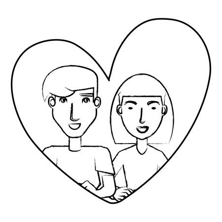 heart with young couple in love over white background, vector illustration