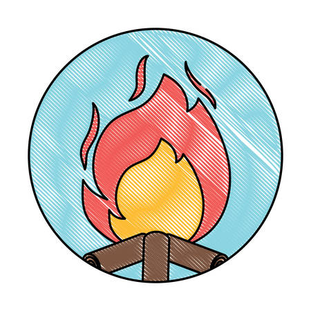 decorative circular frame with bonfire icon over white background, vector illustration