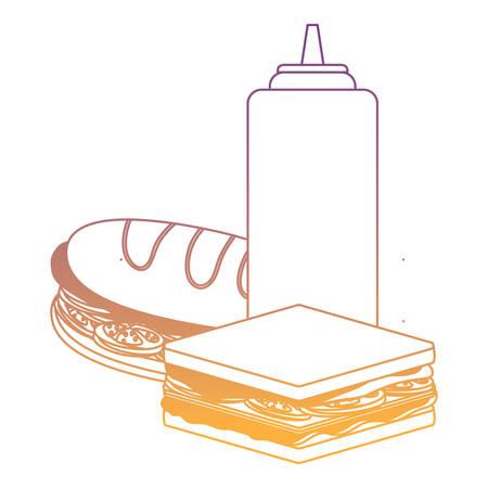 Icono de botella de sándwich y salsa de tomate sobre fondo blanco, ilustración vectorial