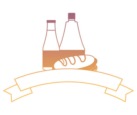 decorative ribbon with Sandwichs and sauces bottle icon over white background, vector illustration