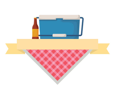 picnic emblem with food cooler and beer bottle over white background, vector illustration