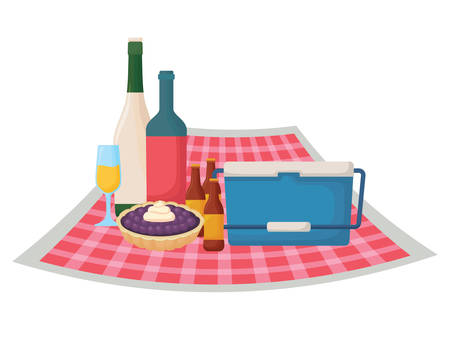 picnic tablecloth with cooler and food over white background, vector illustration Illustration