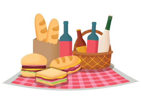 Picnic tablecloth with sandwiches and food over white background, vector illustration Vettoriali
