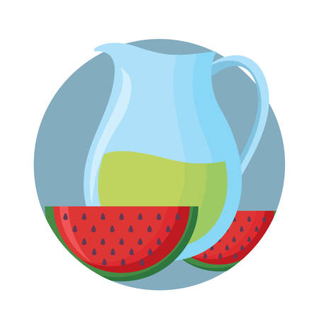 lemonade pitcher and watermelon over white background, vector illustration Illustration