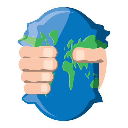 hand Squeezing the Earth planet icon over white background, vector illustration