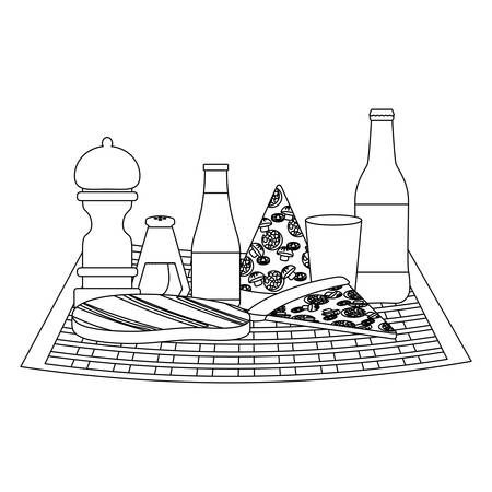 Picnic tablecloth with pizza and drink bottles over white background, vector illustration