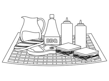 Picnic tablecloth with sandwiches and sauce bottles over white background, vector illustration