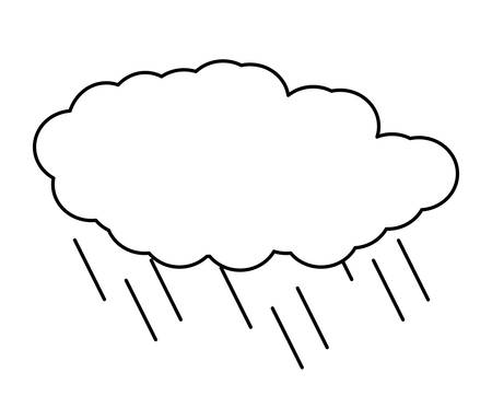 cloud with rainy drops over white background, vector illustration