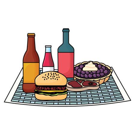 Mantel de picnic con hamburguesa y comida sobre fondo blanco, ilustración vectorial