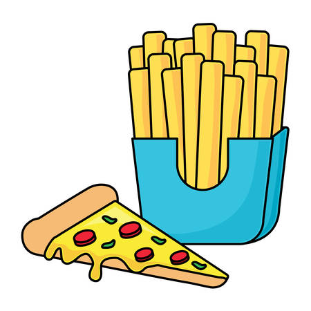 pizza and french fries over white background, vector illustration