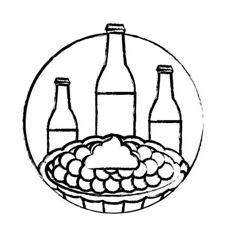 beer bottles and sweet pie over white background, vector illustration