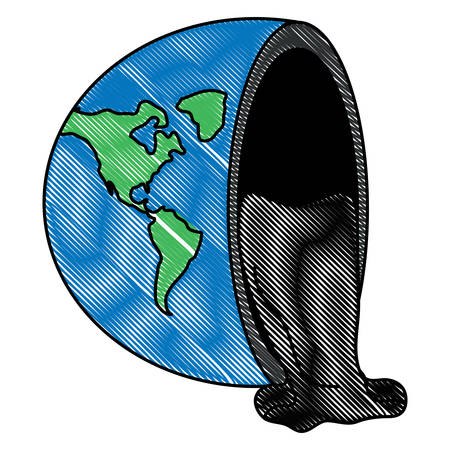 half of the planet with oil spilled over white background, vector illustration