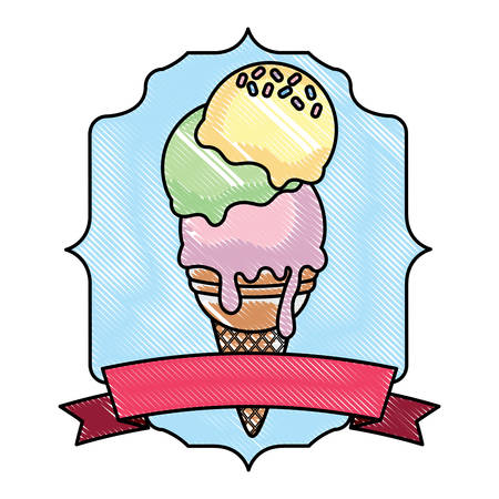 Vintage frame with ice cream and decorative ribbon over white background, vector illustration