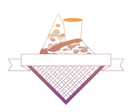 picnic emblem with pizza slices and glass over white background, vector illustration