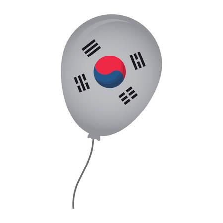 balloon with south korea flag design over white background, vector illustration