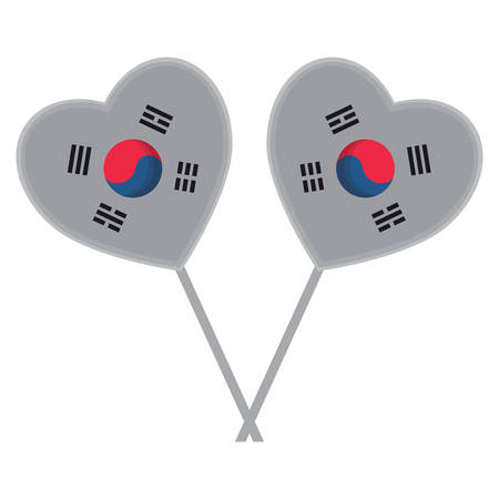 decorative hearts with south korea flag design over white background, vector illustration