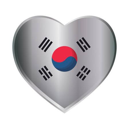 south korea flag in heart shape over white background, vector illustration Stock Vector - 104048309