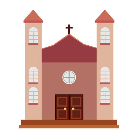church building icon over white background, vector illustration Foto de archivo - 104048676